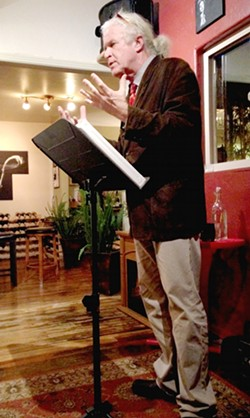 MUSE IT OR LOSE IT:  SLO poet laureate emeritus, Cal Poly professor, and New Times contributor James Cushing does his thing at the Wise Owl in Cambria. - PHOTO BY CELESTE GOYER