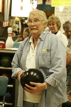 BOWLING FOR DEMOCRACY :  Sheila Blake kept the evening fun despite losing her bid for a seat on the Pismo Beach City Council. - PHOTO BY NICK POWELL