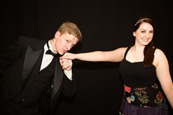 KISS THE GIRL :  Cal Poly students Corey Hable (left) and Alexis Rubell (right) play lovers Hanna Glawari and Count Danilo in Franz Lehar's popular operetta. - PHOTO COURTESY OF CSPOT AND OPERASLO