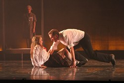BETTER RUN FOR YOUR LIFE IF YOU CAN, LITTLE GIRL:  Ryan Beck's John Proctor (right) delivers a passionate performance, perfectly pitched to Hannah Clarke's (left) stunning Abigail Williams. - PHOTO COURTESY OF DREW SILVAGGIO