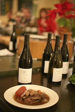 COURSE FIVE :  Braised lamb with bitter chocolate and rosemary-roasted root vegetables is paired with the 2008 Syrah. - PHOTO BY GLEN STARKEY