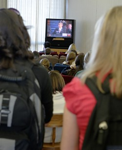 CAL POLY GETS A LESSON IN HISTORY :  Cal Poly students watching President Obama's speech. - PHOTO BY STEVE E. MILLER