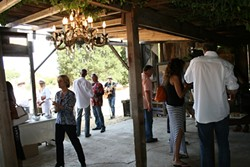 DEFINITE CRAVING:  Vines intermingle with chandelier baubles and ancient barn wood at the site of what will become LXV's new wine lounge, located in Westside Paso Robles. The winery recently released two new wines: Dark Romance, comprised of 100 percent chenin blanc, and Secret Craving, a blend of cab franc, syrah, and merlot. - PHOTO BY HAYLEY THOMAS