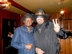 BLUES BROTHERS :  Blues drummer Rock Pittman and his pal The Gap Band member Jimi Macon play Pittman's first weekly blues show on Feb. 1 at the Z Club. - PHOTO COURTESY OF RICK PITTMAN