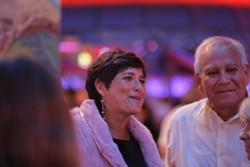 INAUGURAL BALL :  Dawn Ortiz and her father Phil Ortiz from Illinois, smiling the night away. - PHOTO BY STEVE E. MILLER