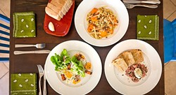 HANDLED WITH CARE:  From left, locally sourced butter lettuce with house made pickled veggies and house-cured bacon; freshly made pasta with local pumpkin and butter sage sauce; and steak tartare on freshly baked sourdough bread at The Spoon Trade. - PHOTO BY KAORI FUNAHASHI