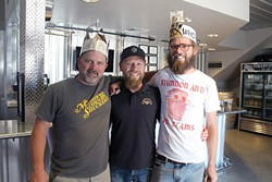 WINEMAKERS GET FROTHY:  From left to right, winemaker Sherman Thacher of Thacher Winery, Firestone Walker Brewing Co. Brewmaster Matt Brynildson, and Daniel Callan of Thacher Winery. Thacher and Callan created the winning blend that became the basis for Firestone's XIX Anniversary Ale (hence, the crowns). - PHOTO COURTESY OF FIRESTONE WALKER BREWING CO.