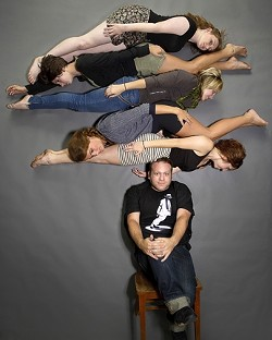 STACKED :  Drew Silvaggio delicately balances his dancer entourage. - PHOTO BY STEVE E. MILLER