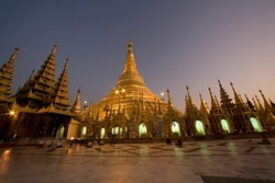 """THE SHWEDAGON PAGODA :  This structure is in the city of Rangoon (also known as Yangon). """"You can't help but feel very moved,"""" said photographer Sky Bergman. """"It's such a humbling place to be."""" - PHOTO BY SKY BERGMAN"""