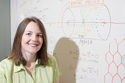 BEAUTIFUL MIND :  Cal Poly's Jennifer Klay has researched atomic physics at Lawrence Berkeley and Livermore labs, Brookhaven, and CERN. - PHOTO BY STEVE E. MILLER