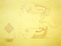 SCHERAZADE YANTRA :  Pencil on paper. - IMAGE BY TOM KNECHTEL