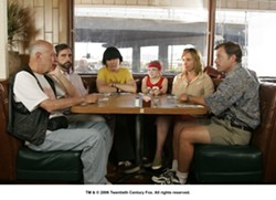 ROAD TRIP BLUES :  Greg Kinnear, Toni Collette, Steve Carell, Paul Dano, Abigail Breslin, and Alan Arkin portray the comically dysfunctional Hoover family, on a road trip to Redondo Beach in Little Miss Sunshine. - PHOTO COURTESY OF TWENIETH CENTURY FOX