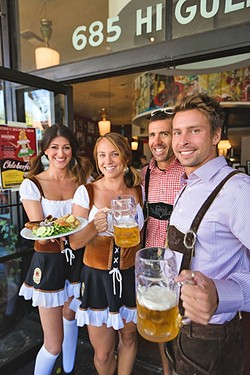 EAT, DRINK, OOMPAH:  From left, Kreuzberg Oktober Fest co-organizers Freya Wilkerson, Ali Zikratch, and owners James Whitaker and Chris Tarcon. The crew will host an all-day celebration of beer, food, and German music this Oct. 17. - PHOTO BY KAORI FUNAHASHI