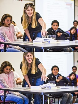 TIMBER!:  Students in Aimee Burrus' sixth grade class at Los Osos Middle School were tasked with building a bridge, which Burrus later stress tested. - PHOTOS BY HENRY BRUINGTON