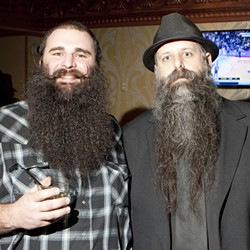 RUSSIAN DYNASTY:  Vice President of the Central Coast Beard and Mustache Club Yence Pedersen and Sergeant of Arms Peter Kanavalov use their Russian heritage to put the Duck Dynasty men on notice. - PHOTO BY STEVE E. MILLER