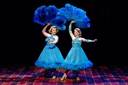 SISTER ACT:  Mutual, I'm shoo-wa! Elizabeth Stuart as Betty Haynes (left) and Natasha Harris as Judy Haynes bring this iconic scene to life in the tune Sisters, and shine throughout the entire White Christmas production. - IMAGE COURTESY PCPA