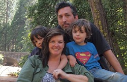 'F' IS FOR FAMILY:  David Vienna used to work at New Times. Then he married colleague Larissa Collins, struck off to live a new dream, had some kids—Wyatt (left) and Boone (Superman)—started a blog, and got a U.S. book deal. Then, as announced on Oct. 31, a German book deal. - PHOTO COURTESY OF DAVID VIENNA