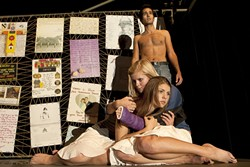 ENDURE, I HOPE :  Antigone, played by Ellen Jones, and sister Isthmene (Ellie Kovara) appear in a daring adaptation of Sophocles' play. - PHOTOS BY STEVE E. MILLER
