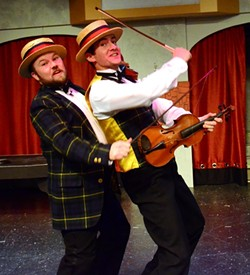 FIDDLERS ON THE STAGE:  Dynamic duo Cosmo (Zach Johnson) and Don (Jeff Salsbury) reminisce about their less-than-humble beginnings in show business. - PHOTO COURTESY OF JAMIE FOSTER PHOTOGRAPHY