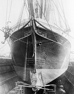 LAST AND LARGEST :  At 224 feet long, the George E. Billings was the last and largest of the sailing vessels built by the Hall Brothers. The Billings wreck was recently located off the coast of Santa Barbara Island in the Channel Islands. - PHOTO COURTESY OF ROBERT SCHWEMMER