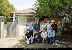 MEN WITH A MISSION :  (left to right, back row) Little Robbie Kimball, Tim Jackson, Peter Yelda, Louie Ortega, Randy Pybas, and (left to right, front row) Josef Kasperovich, Frankie Paredes, Bill Donley, and Lance Robison are a few of the more than one dozen musicians who will play a fundraising benefit at Chili Peppers on May 22, to help a family of employees who lost their home to a fire. - PHOTO BY STEVE E. MILLER