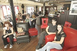 CUPPA JOE :  Customers at Amsterdam relax with quality espresso and baked goods, fulfilling a longtime dream of the café's mother and daughter owners, Rosemary and Stephanie Bourgault (far right). - PHOTO BY STEVE E. MILLER
