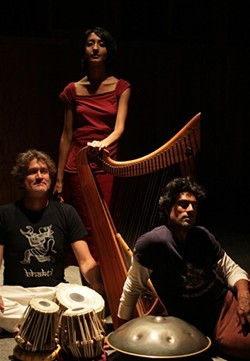 GET MYSTICAL:  (Left to right) Johnee Gange, Sheela Bringi, and Masood Ali Khan will bring their world music sounds inspired by the mysticism of Indian music to mBody on Nov. 24. - PHOTO COURTESY OF MASOOD ALI KHAN, SHEELA BRINGI & JOHNEE GANGE