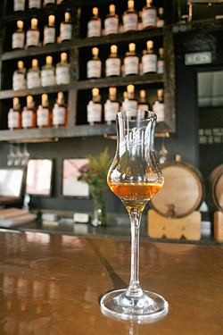 WINE SHINE:  Wine is great and all, but brandy made from wine grapes is pretty darn festive this holiday season. Stop by Wine Shine's new tasting room, located in the artisanal beverage haven of Paso Robles' Tin City, for a tasting snifter and a bold bottle perfect for winter gifting. - PHOTO BY HAYLEY THOMAS