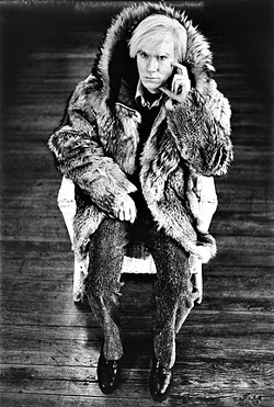"""ANDY IN FURS:  Michael Childers was a founding photographer of Andy Warhol's Interview magazine, but he often trained his lens on Warhol himself. Childers' """"Images of Warhol"""" series can be seen alongside his concurrent SLOMA exhibit """"Icons and Legends."""" - PHOTO BY MICHAEL CHILDER"""