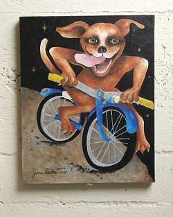 NEW TRICKS FOR DOGS :  Janis Deton, whose work is pictured, is one of several artists showing at the bike art show. - PHOTO BY STEVE E MILLER