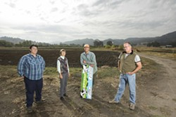 MEMBERS IN GOOD STANDING :  Several key members of the Huasna Valley Association-—(left to right) Anna Gabriel, Lyn Schultz, Ron Skinner, and Doug Timewell— take time for a breath of fresh air. - PHOTO BY STEVE E. MILLER