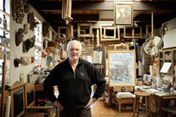 IN HIS ELEMENT :  Watercolor and oil painter David Kreitzer taps into his creative juices in his light-filled Los Osos studio. - PHOTO BY STEVE E. MILLER
