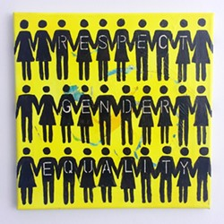 STAND TOGETHER:  Brigette Parzych's painting (pictured) embodies the theme of gender equality that many of the works in the exhibit share. - IMAGE COURTESY OF TERRI KURCZEWSKI