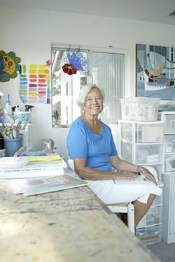 WATERCOLOR QUEEN :  Pat Cairns, member of seven watercolor societies, prepares for the weekend's Open Studios tour. - PHOTO BY STEVE E. MILLER