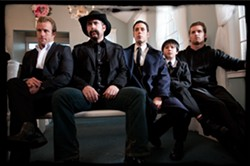 PUTTING THE FUN IN FUNERAL :  Scott Caan, Jason Jones, Paulo Constanzo, Siam Yu, and Jared Keeso star as ne'er-do-well Duke White's five sons, in Jonathon SOBOL's dark comedy. - PHOTO COURTESY OF DARIUS FILMS