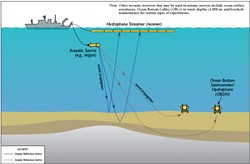 REFLECTIVE SEISMOLOGY FOR DUMMIES :  A National Science Foundation diagram illustrates how high-energy, 3-D seismic surveys collect data about the earth's crust. - IMAGE COURTESY OF THE NATIONAL SCIENCE FOUNDATION