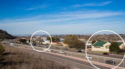 NEIGHBORS IN THE MAKING:  Paso Robles City Council members will decide whether they want to reconsider rezoning for a cardroom to relocate to a building on Ramada Drive (circled right). Neighbors—led by Adam Firestone of Firestone Walker Brewing Company (circled left)—aren't very fond of the idea, saying that a cardroom is not appropriate for the area. - PHOTO BY KAORI FUNAHASHI