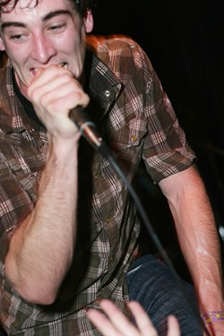 THE KIDS ARE ALRIGHT! :  Travis Hawley of PK ignites the crowd at the band's last Downtown Brew gig, where they appear again with The Mighty Fine, Picture Atlantic, and Please Do Not Fight on April 2. - PHOTO BY GLEN STARKEY
