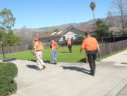 ON THE HUNT :  Various first responders spread out to search the neighborhood where Clarice went missing in early February. - FILE PHOTO
