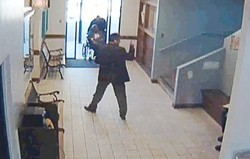 MUCH ADO ABOUT A MEETING :  This is a still from a video posted on YouTube, which Jeff Lind believes proves his innocence. Lind is charged with threatening a witness, stemming from a Santa Maria courthouse inaction with Robert Ortega, a police officer who later said he was threatened. Lind has since filed a claim saying the court must prove its jurisdiction over him.