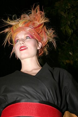HAIR ON FIRE! :  Amy Ranson models hair design by Amy Sykes of Saloon 544. - PHOTO BY GLEN STARKEY