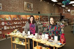 MOTHER-DAUGHTER TEAM :  Christine Lamprecht (left) and her mother Joanne Vega (right) recently opened their third soap store in downtown SLO. The soaps sold in the front of the store are made daily in the back area for all to see. - PHOTO BY STEVE E. MILLER