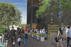 CREEK WALK :  The new SLO Brew would have dining opening up onto the creek walk, similar to Creeky Tiki and Novo. An external staircase will bring patrons to the second floor nightclub and rooftop dining area. - RENDERINGS COURTESY OF SLO BREW AND BRACKET ARCHITECTURE OFFICE