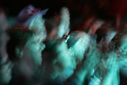 NIGHT CROWD!:   Spectators watched late into the night during the Live Oak Music Festival.