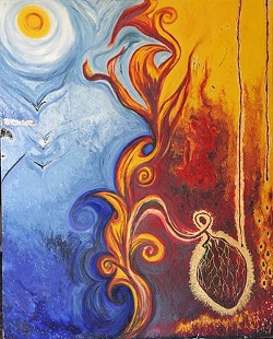 HIM AND HER :  In this painting, Castellon represented her logical, expressive, dead poet boyfriend in blue and her own passionate self in red; he soars birdlike toward the sun while her heavy heart hangs like ripe fruit. - PHOTO BY GLEN STARKEY
