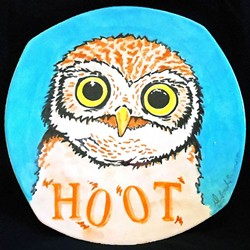 WHAT A HOOT:  The childhood favorite book 'Hoot' by Carl Hiaasen was the inspiration behind this plate by Deborah Swanson, artist and owner of Studio 101 West in Atascadero. - PHOTO COURTESEY OF PASO ROBLES CITY LIBRARY
