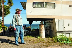 RELOCATED :  Port of San Luis Trailer Park resident, Tom McAlexander, may be forced to relocate his home if the Port San Luis Harbor District successfully closes the park, but will not give in without a fight. - PHOTO BY STEVE E. MILLER