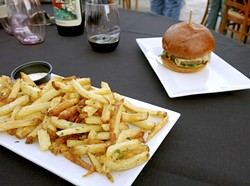 CHOW TIME!:  Danior Kitchen Chef Spencer Johnston elevates the simple burger and fries to high art. - PHOTO BY GLEN STARKEY