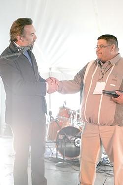 STAR POWER! :  Actor Francesco Quinn (son of Anthony, left) congratulates Luciano Holguin on his win for the Upcoming Hispanic Actor Award. - PHOTO BY GLEN STARKEY