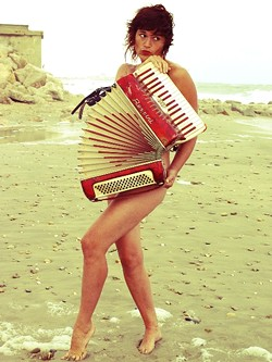 ACCORDION CABARET :  French cabaret artist Jetty Swart plays Steve Key's Songwriters at Play showcase on Jan. 23 at Sculpterra Winery. - PHOTO COURTESY OF JETTY SWART